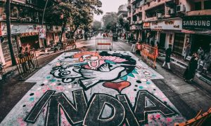 globalization scene road street india