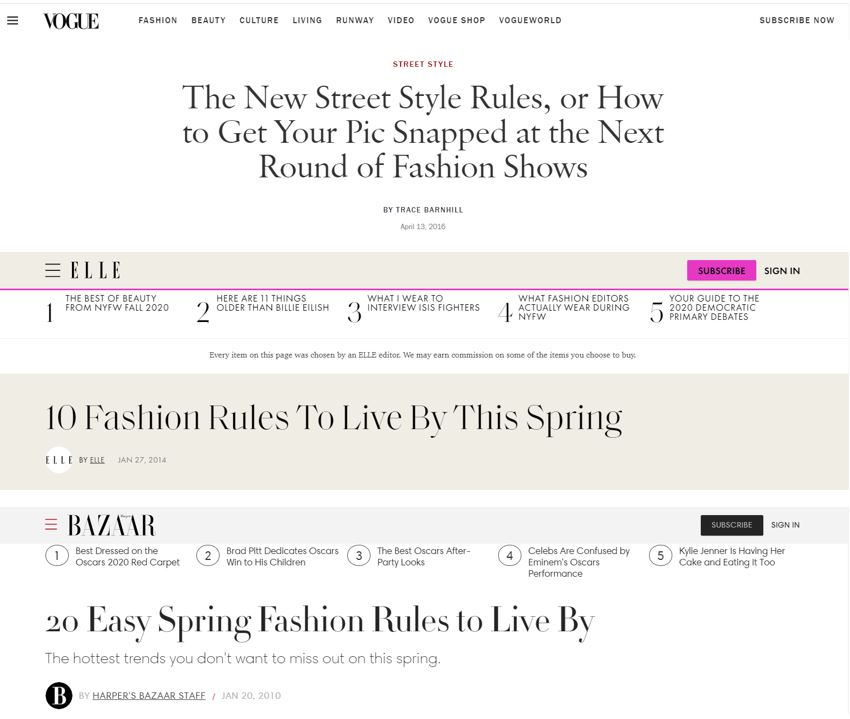fashion magazines style rules to live by