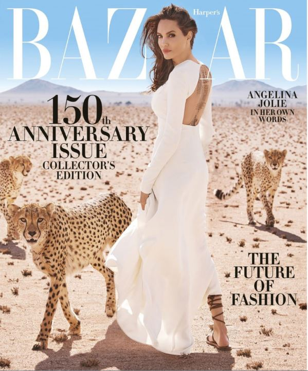 harpers bazaar fashion magazine cover angelina jolie editorial