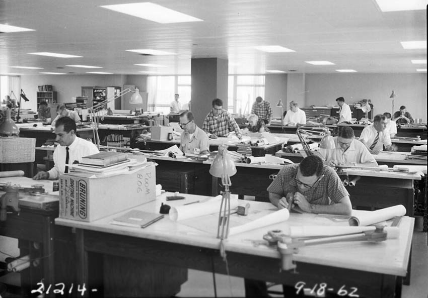 Engineering-drafting-room,-1962
