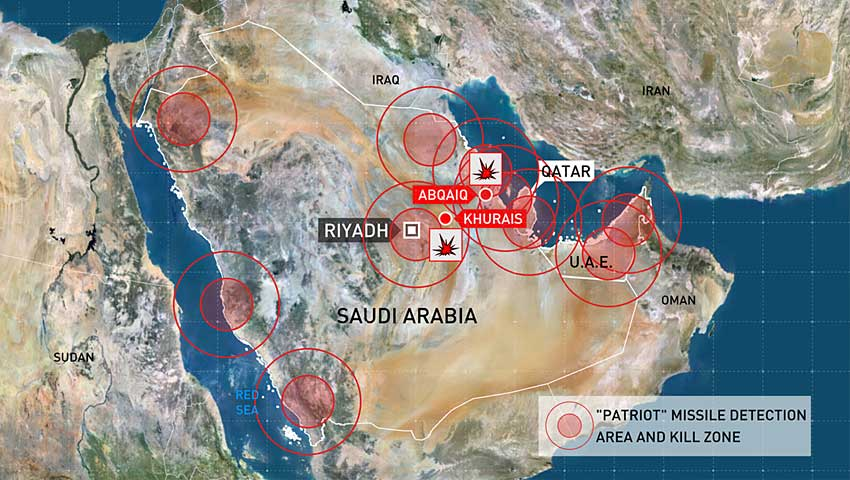 Locations of Saudi and Emirati Patriot launchers (circles detection zone, red kill zone) based on data from a Russian Ministry of Defense